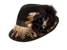 Trachtenhut Hut mit Federn schwarz braun neu Tracht Damenhut, ca 57 cm Umfang