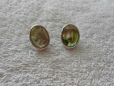 Vintage Whiting Davis Abalone Silver Tone Clip Earrings