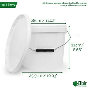 Plastic Storage Buckets with Lids 0.5, 1, 5, 10, 15, 25/30 Litre Container Tubs