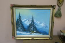 """Signed R. Thomas Oil on Canvas Painting 16""""x20"""" - 20"""" x 24"""" Framed Snow Mountain"""