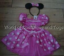 Minnie Mouse Pink Dress Up fancy Dress Costume & Ears age 7/8 years NEW