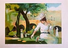 Bernard PELTRIAUX Lithographie originale signé Paris personnage féminin p 507