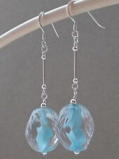 Vintage Oval Clear & Powder Blue Ribbed Glass Sterling Silver Earrings
