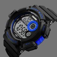 SKMEI Men's LED Digital Date Alarm Waterproof Rubber Sport Watch Army Wristwatch
