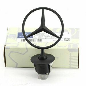 Mercedes Benz Matte Black Front Hood Ornament Star OEM Mounted Emblem C E S AMG