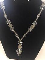 "Vintage Art Deco  Crystal Clear Glass Drop 36"" Strand Necklace K170"
