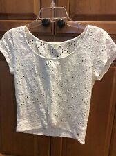 American Eagle White Eyelet Blouse With Faux Knot Size S