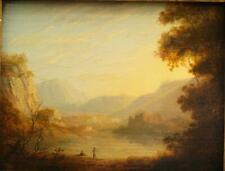 "c1820 LAKE DISTRICT SUNSET LANDSCAPE ""CUMBERLAND""  FISHING  Antique Oil Painting"