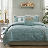 BEAUTIFUL REVERSIBLE BLUE GREY OCEAN BEACH COASTAL NAUTICAL SHELL COMFORTER SET