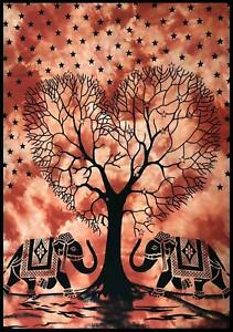 Tree of Life Art 100% Cotton Tapestry Wall Hanging Beach Throw Yoga Mat Boho