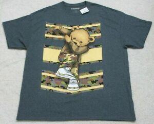 New Nardten Dancing Bear Gray T-Shirt Cotton Poly Tee Mans Solid Graphic 2XL XXL