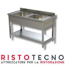 Lavatoio Lavello inox 2 vasche con ripiano di fondo. Cm. 120x70x85H. Nuovo