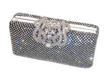 Black Diamante Diamond Crystal Evening bag Clutch Purse Party Wedding Prom Eid