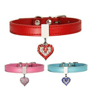 Bling Peach Heart Rhinestone Dog Collars Crystal Puppy Cat Necklaces Pet Collars