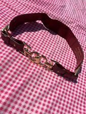 RIVER ISLAND Oxblood Gold Buckle Horse Belt Equestrian Red UK S Designer Style
