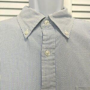 LL Bean Mens Seersucker Large Short Sleeve Button Down Shirt Traditional Fit