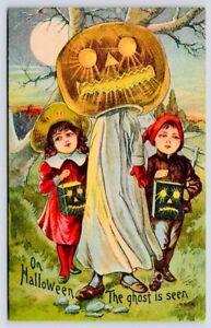 Antique Postcard Size Print 4x6 Halloween Ghost Is Seen