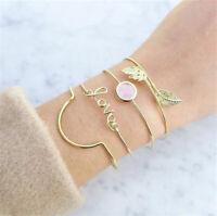 4pcs/set Fashion Women Bracelets Crystal Leaf Love Bangle Wristband Jewelry Gift