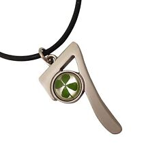 CELTIC LUCKY REAL 4 FOUR LEAF CLOVER NECKLACE PENDANT GIFT DRIVING TEST EXAMS