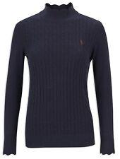 Jack Murphy Gillian Scalloped Polo Neck Navy Sweater BNWT UK SIze 18 RRP £60