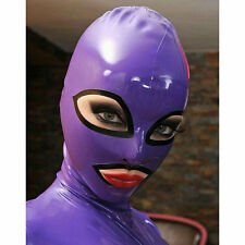 Sexy Purple Latex Rubber Hood Mask With Black Trim For Unisex Cosplay Party Wear