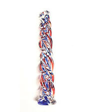 7.5 Inches Long Red & Blue Twisted Glass Dildo