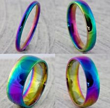 2 4 6 8mm Rainbow Stainless Steel Mens Womens Wedding Band Pride Ring - H to Z+5