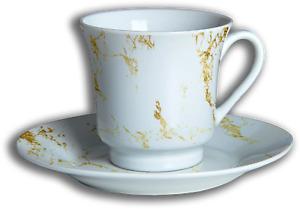 Gold Marble 12 Piece Tea Set - Porcelain, Ceramic, Cup & Saucer (Set of 6)