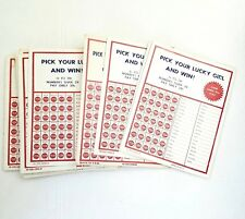 22 VINTAGE PICK YOUR LUCKY GIRL AND WIN PUSH PUNCH CARD Pin up Girls U.S.A.