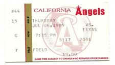 1989 Rangers @ Angels 7/6/1989 Ticket Nolan Ryan Win #283 12 K's 3 Shutout