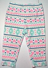 CARTERS Pants Girls 12 Months Pink Green Blue Print Cotton Knit Leggings B28