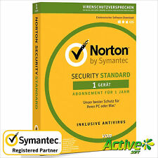 Norton Security 2019 1 Gerät 1 Jahr | PC, Mac | INTERNET SECURITY DE-Lizenz