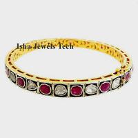 Victorian Natural Diamond Polki & Ruby Gold 925 Sterling Silver Bangle Bracelet