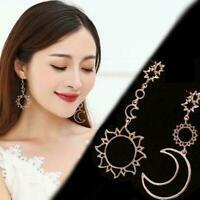 Frauen Boho Asymmetrische Sterne Sun Moon Leaf Drop Schmuck Ohrringe Mode U8Q9