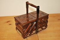 LOVELY VINTAGE STYLE  WOODEN  MEDIUM 28CM LONG SEWING BOX HAND CRAFTED