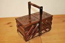 LOVELY VINTAGE STYLE  WOODEN  MEDIUM 30CM LONG SEWING BOX HAND CRAFTED