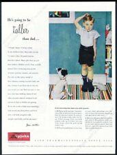1947 Norman Rockwel boy and dog art Upjohn pharmaceuticals vintage print ad