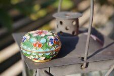Antique Italian Jewelry Gemstone Miniature Ring/Pill Powder Box Cloisonne Enamel