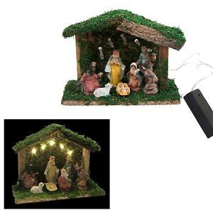 Christmas - Light Up Decoration - 519005 7 Figure & Stable Scene - Nativity