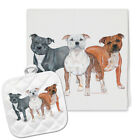 Staffordshire Bull Terrier Kitchen Dish Towel and Pot Holder Gift Set