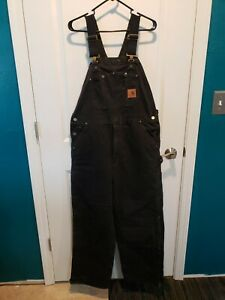 "Men's ""Carhartt"" R27 Sandstone Bib Overall Size: 36 X 30 Quilt Lined Black"