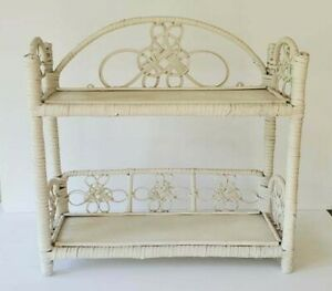 White Vintage Wicker 2-Tier Wall Hanging or Free Standing Shelf Rattan Bamboo