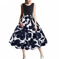 Large Size Women's Sleeveless Retro Print Dress S-5XL