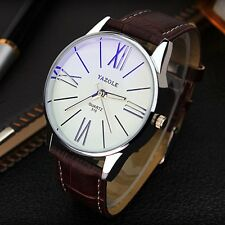 Cuarzo Reloj para Hombre Resistente al Agua tradicional blanco y marrón