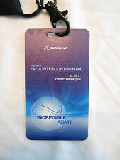 2 Boeing 747-8 Intercontinental Premier Lanyard Key Card Holder with Event Pass