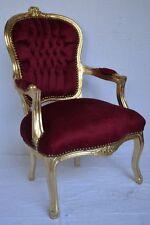 Fauteuil de style Louis XV velours bordeaux