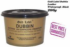 Gold Label Dubbin Leather Waterproofs Softens Preserves Boots Tacks Black-200g
