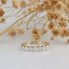 Band Ring 14K Yellow Gold Over 0.70 Ct Round Diamond 7-Stone Anniversary Wedding