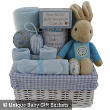 Baby gift basket/hamper Peter Rabbit keepsake capsule boy baby shower nappy cake