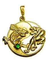 LOOK BIG YIN YANG Dragon Tiger Gold VERMEIL Sterling silver 925 EMERALD PENDANT